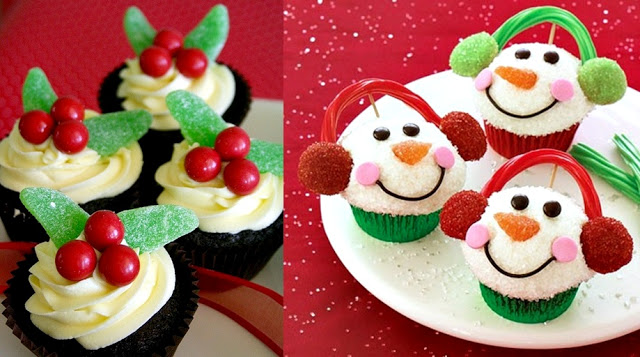 easy to make desserts - snowman cuppies,Christmas cupcakes